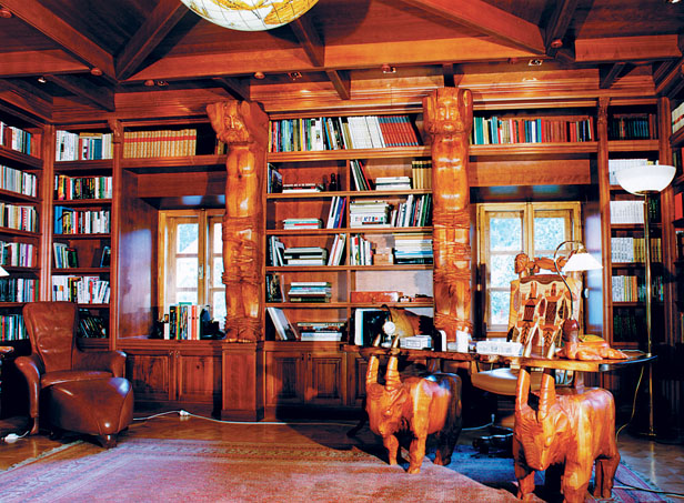 Library in romantic style